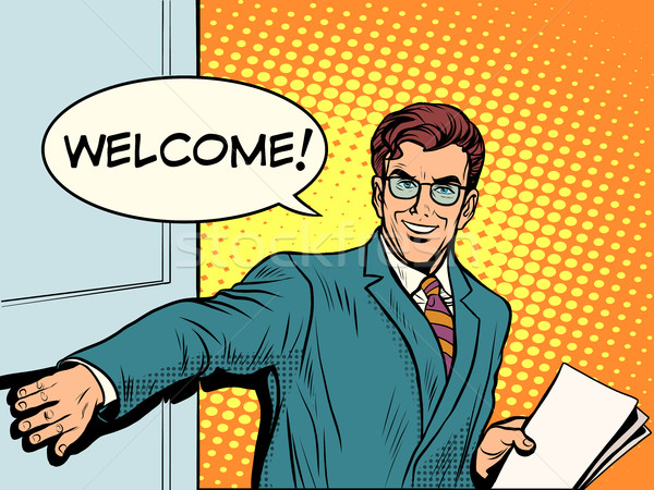 Welcome businessman opens the door Stock photo © studiostoks