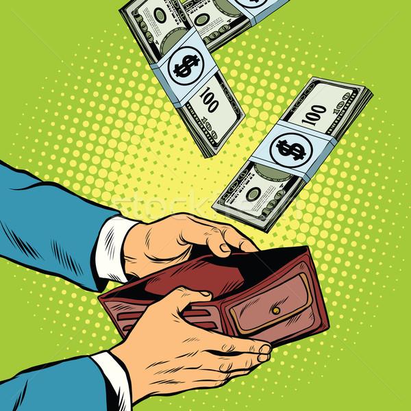 Geld fallen Brieftasche finanziellen Gewinne Reichtum Stock foto © studiostoks