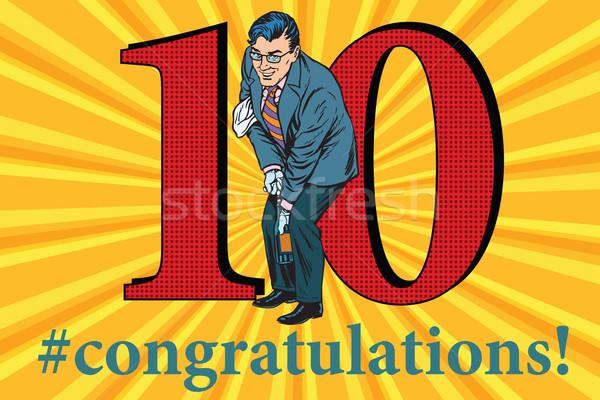 Glückwünsche 10 Jahrestag Veranstaltung Feier glücklich Stock foto © studiostoks