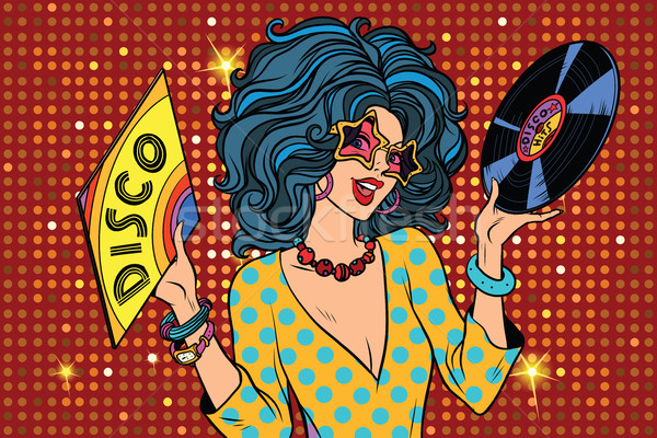 Disco diva retro dame pop art meisje Stockfoto © studiostoks