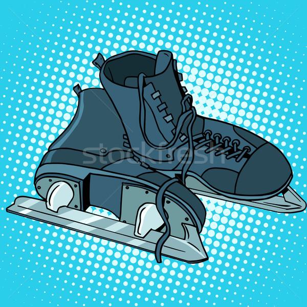 Hombres patines invierno deportes arte pop estilo retro Foto stock © studiostoks