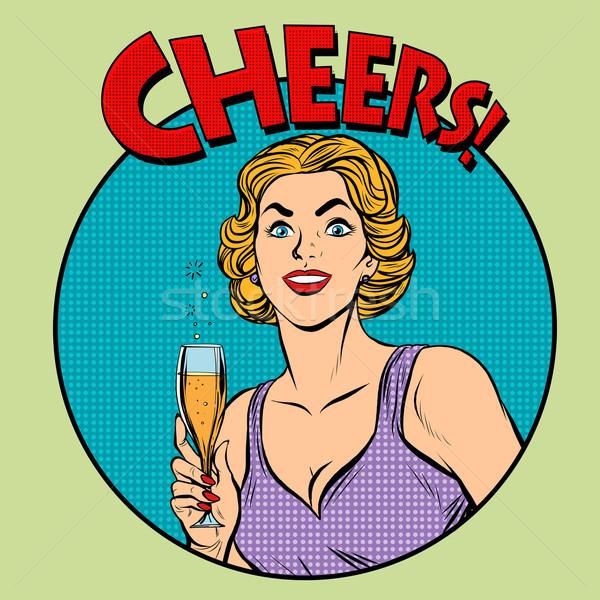 Cheers toast celebration woman Stock photo © studiostoks