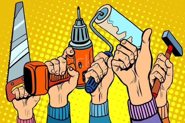 Strumenti visto trapano vernice martello pop art Foto d'archivio © studiostoks