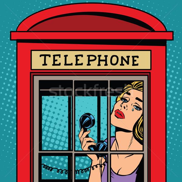 少女 泣い 赤 電話 ブース レトロな ストックフォト © studiostoks
