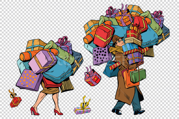 Vacanze vendite Coppia uomo donna shopping Foto d'archivio © studiostoks