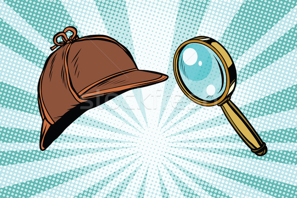 Detective hat and magnifying glass Stock photo © studiostoks