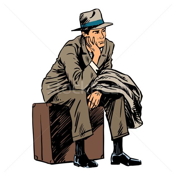 Male passenger waiting travel trip style retro Stock photo © studiostoks
