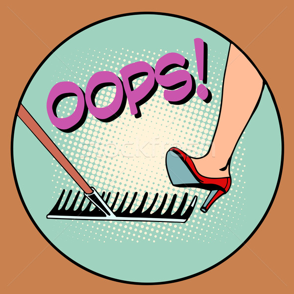 женщину шаг грабли Поп-арт ретро-стиле ошибка Сток-фото © studiostoks
