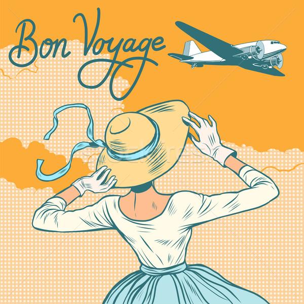 girl passenger plane Bon voyage Stock photo © studiostoks