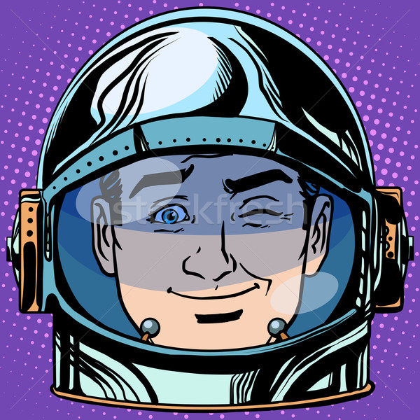 emoticon wink Emoji face man astronaut retro Stock photo © studiostoks