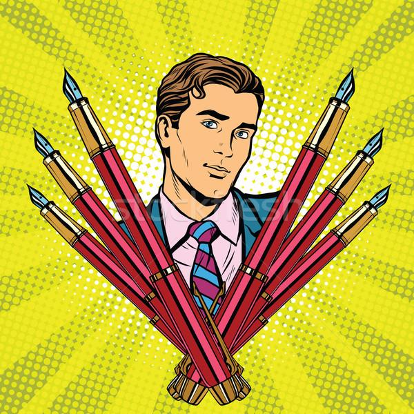 Empresário nosso caneta-tinteiro ícone retro Foto stock © studiostoks