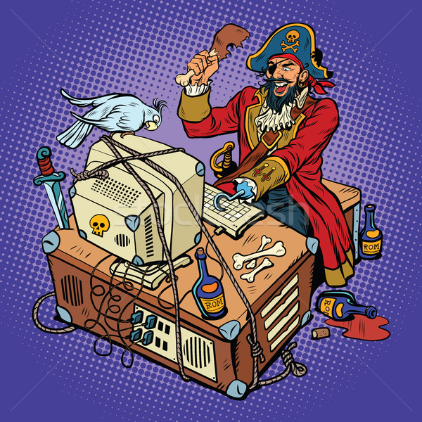 Software piraterij hacker pop art retro man Stockfoto © studiostoks