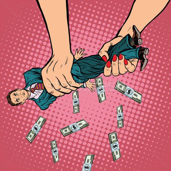 Kadın eller erkekler para pop art Retro Stok fotoğraf © studiostoks