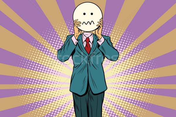 nervous skepticism Man smiley Emoji face Stock photo © studiostoks