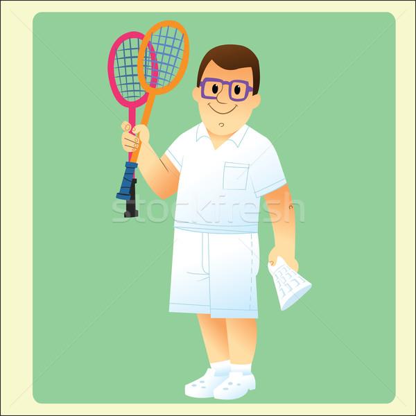 complete man is exercising plays badminton Stock photo © studiostoks