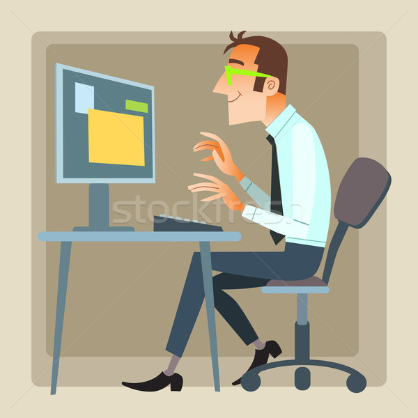 man office working computer Stock photo © studiostoks