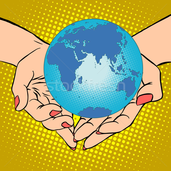 Planet Earth in hands, Eurasia, Africa, Australia and Antarctica Stock photo © studiostoks