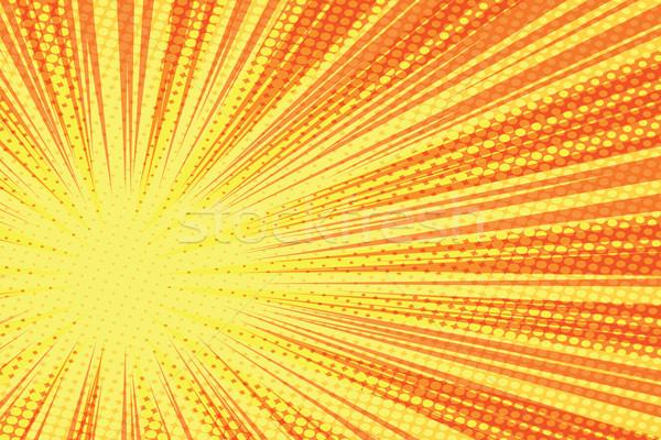 Stock photo: Red yellow retro rays vector background