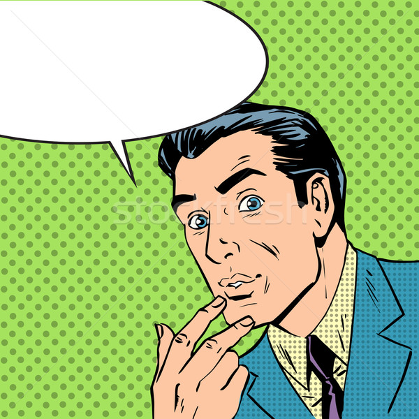 man thought about thinking pop art comics retro style Halftone Stock photo © studiostoks
