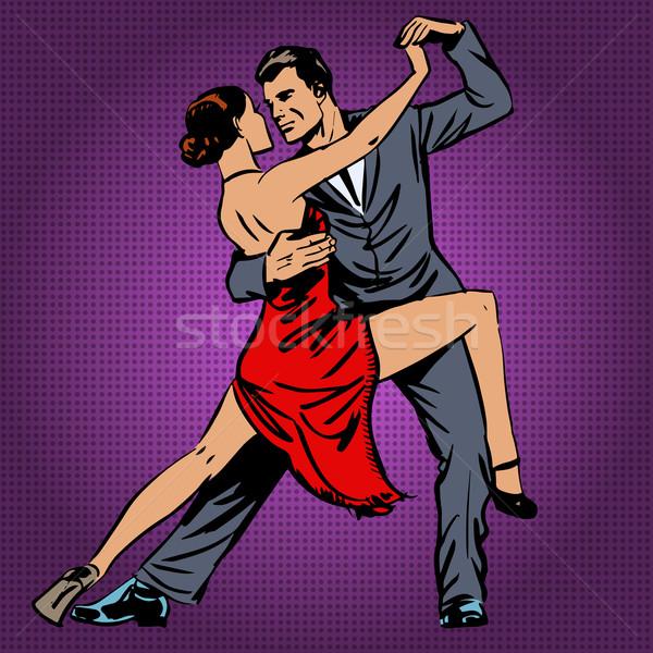 Man vrouw dansen tango pop art muziek Stockfoto © studiostoks