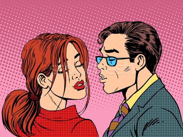 Homem mulher beijo amor romance casal Foto stock © studiostoks