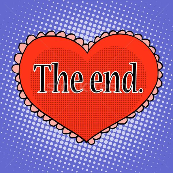 Einde liefde Rood hart pop art retro-stijl Stockfoto © studiostoks