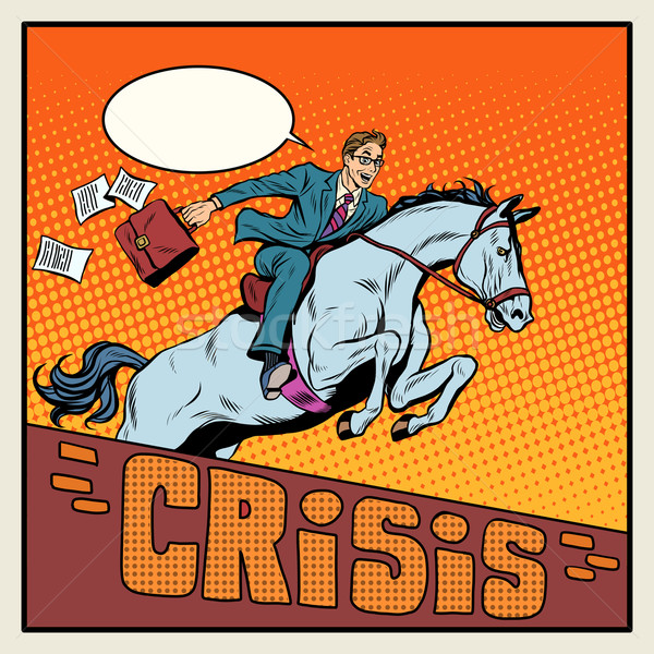 Businessman on a horse jumping barrier crisis Stock photo © studiostoks