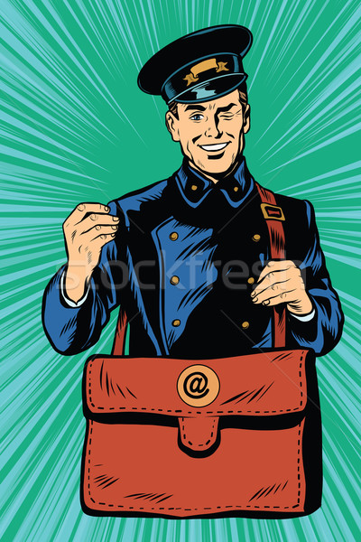 Friendly retro postman in blue uniform with bag Stock photo © studiostoks