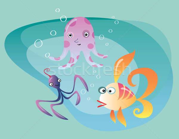 Underwater ocean life cuttlefish octopus and fish Stock photo © studiostoks