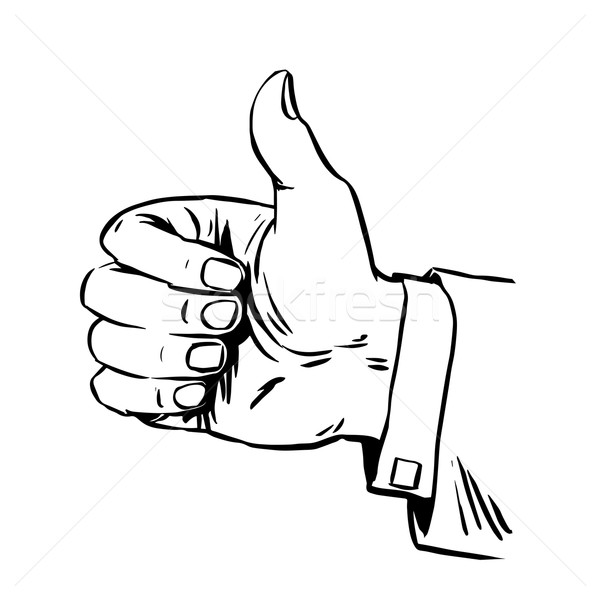 Gesture is great hand thumb quality hitchhiking retro line art  Stock photo © studiostoks