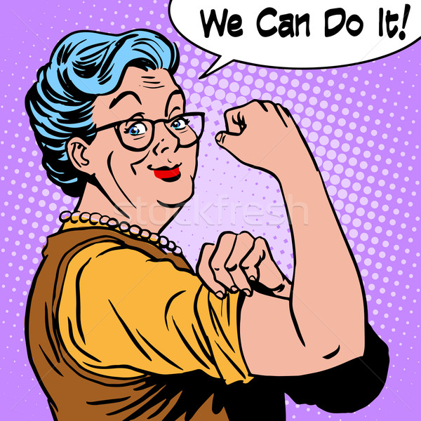 Stock photo: Granny old woman gesture we can do it