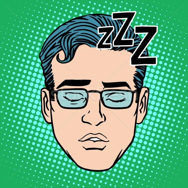 Stock photo: Retro Emoji sleeping male face