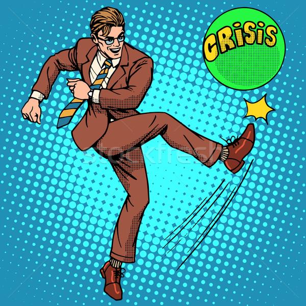 Man hits ball with name crisis Stock photo © studiostoks