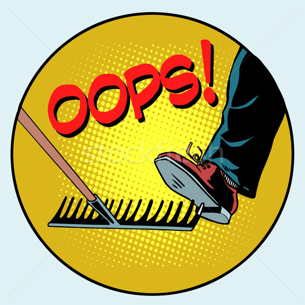 To step on a rake. Failure and problems pop art retro style Stock photo © studiostoks