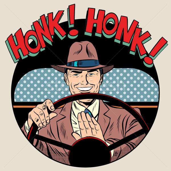 honk vehicle horn driver man Stock photo © studiostoks