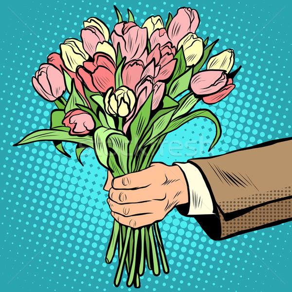 bouquet tulips flowers gift Stock photo © studiostoks
