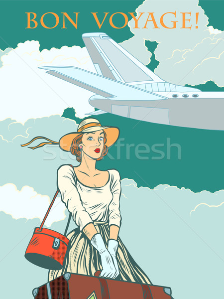 girl passenger plane Bon voyage Stock photo © studiostoks