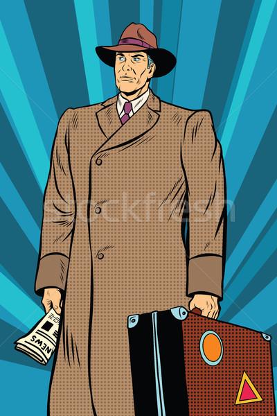 Retro férfi köpeny bőrönd pop art ősz Stock fotó © studiostoks