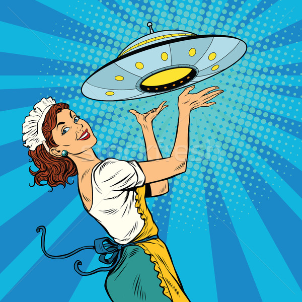 The waitress with UFO Stock photo © studiostoks