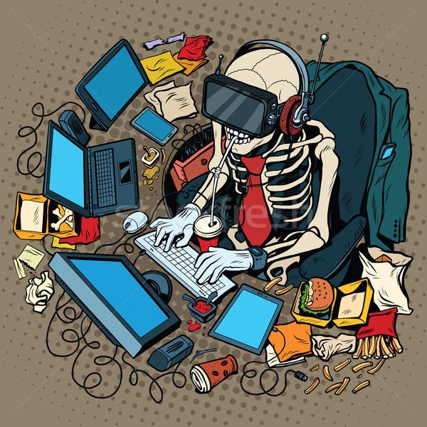 Csontváz programozós virtuális valóság pop art retro Stock fotó © studiostoks