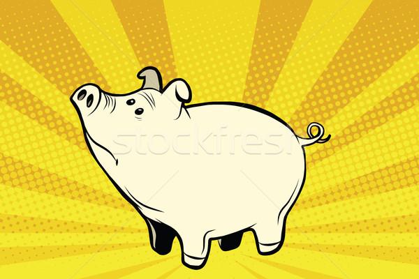 Stockfoto: Grappig · cute · varken · pop · art · illustratie · retro