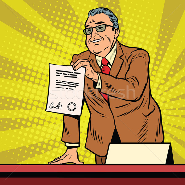 Business boss with a contract Stock photo © studiostoks