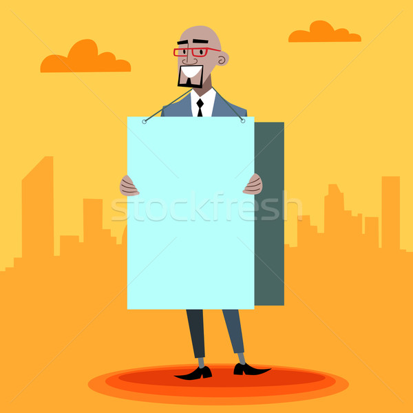 African businessman with an advertising poster  Stock photo © studiostoks