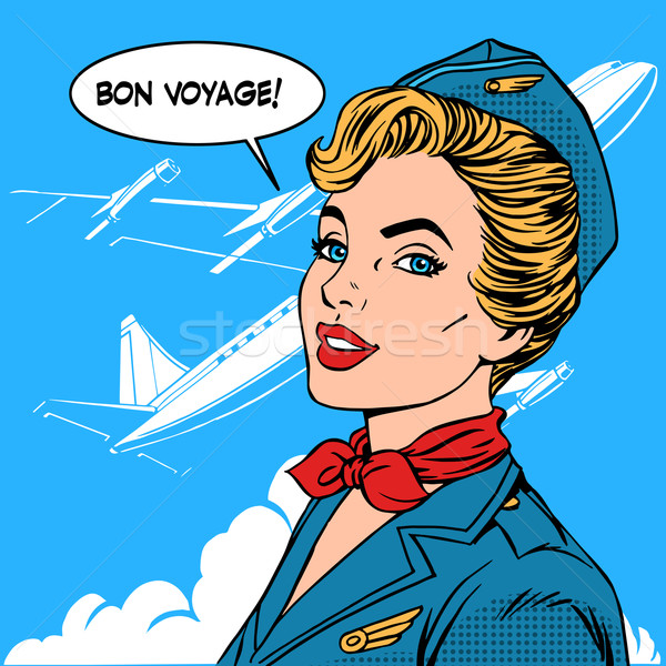 Bon voyage stewardess airplane travel tourism Stock photo © studiostoks