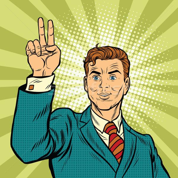 Masculina dedos mano número dos victoria Foto stock © studiostoks