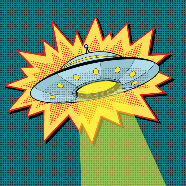 Pop art UFO with light beam Stock photo © studiostoks