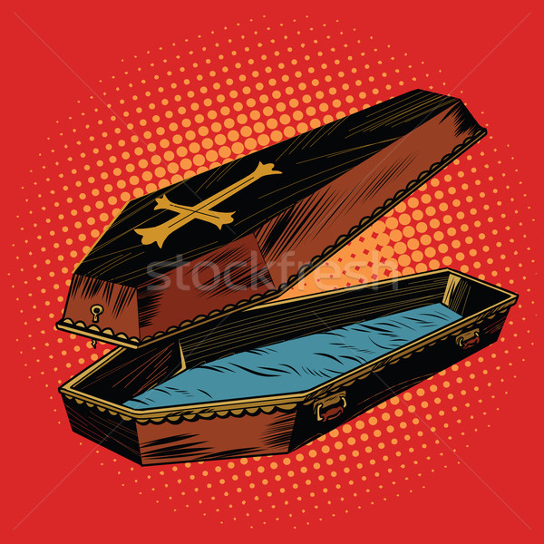 wooden coffin with Christian cross Stock photo © studiostoks