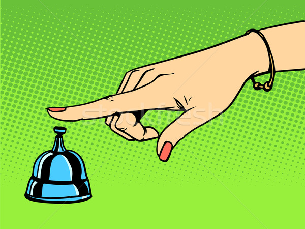 Hívás portás nő kéz harang pop art Stock fotó © studiostoks