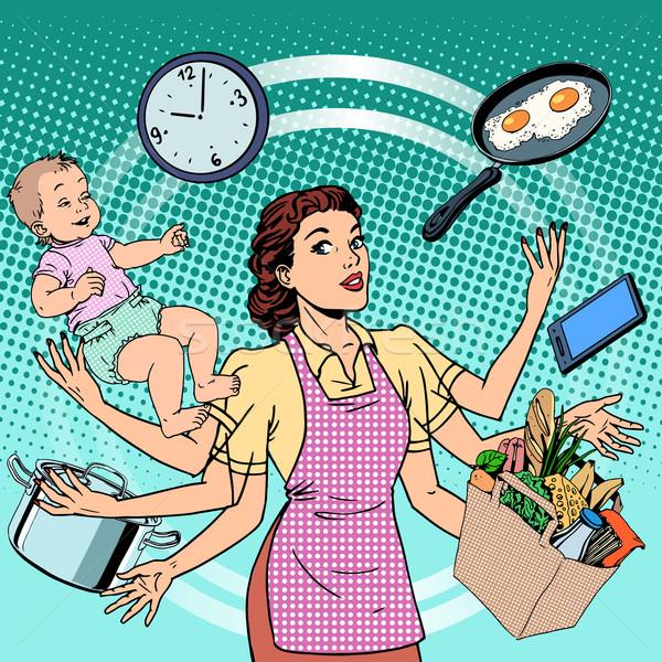 Huisvrouw werk tijd familie succes vrouw Stockfoto © studiostoks