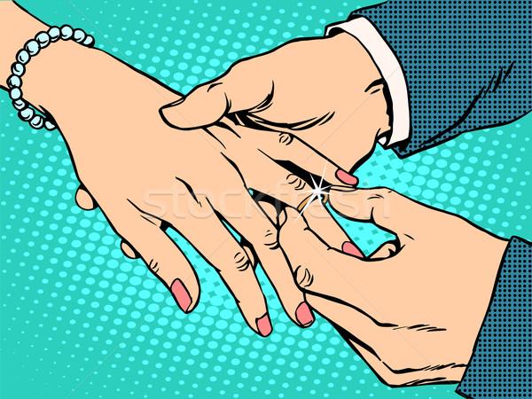 betrothal wedding bride groom gold ring Stock photo © studiostoks